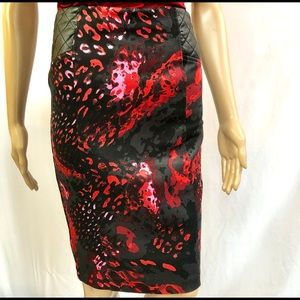 Bebe Multi Colored Midi Skirt Sz XS